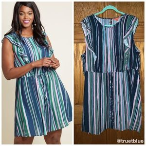 🆕 ModCloth Striped Ruffle Dress Sz 3X